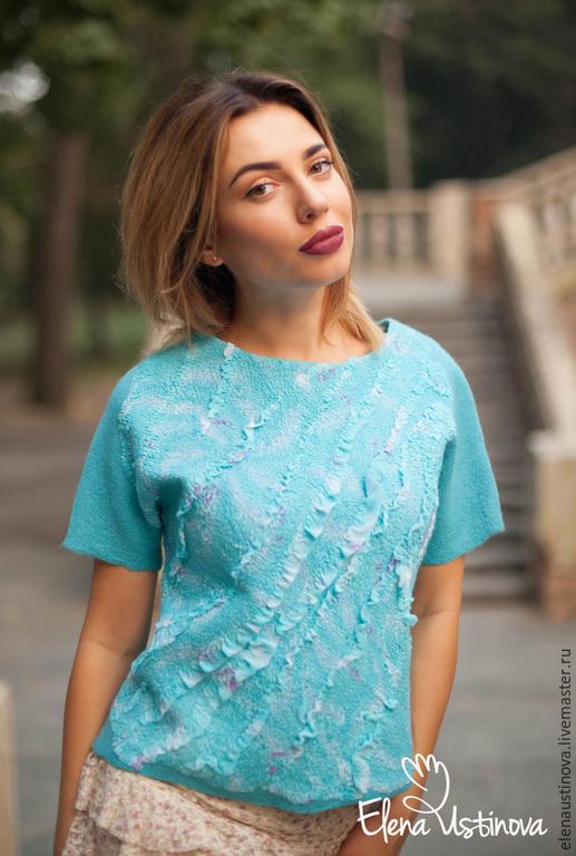 """Блузки ручной работы. Ярмарка Мастеров - ручная работа. Купить Блуза """"Бирюзана"""".. Handmade. Бирюзовый, блузка нарядная, нуновойлок"""