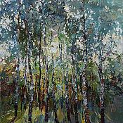 Картины и панно handmade. Livemaster - original item Birch trees Original Oil painting 60 x 90 cm. Handmade.