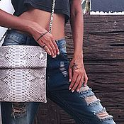 Сумки и аксессуары handmade. Livemaster - original item Square clutch Python with chain Natural grey and Black. Handmade.