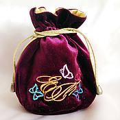 Сувениры и подарки handmade. Livemaster - original item Pouch of velvet Personalized Monogram Butterfly. Handmade.