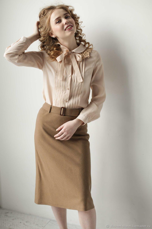 f305b9eaf3b Блузки ручной работы. Заказать Кремовая блузка из шёлка с вискозой