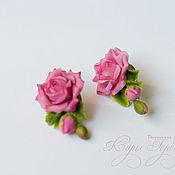 Украшения handmade. Livemaster - original item Earrings with sprigs of pink roses. Handmade.