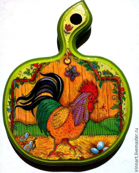 Кухня ручной работы. Ярмарка Мастеров - ручная работа. Купить Дощечка «Петух». Handmade. Разноцветный, кухонная утварь, кухонные принадлежности