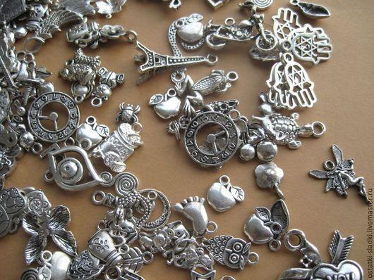 Для украшений ручной работы. Ярмарка Мастеров - ручная работа. Купить 10шт, Подвески серебристые для украшений, металл. Handmade. Серебряный