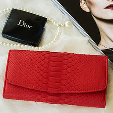 Bags and accessories handmade. Livemaster - original item Leather purse women`s Python red. Beautiful wallet leather. Handmade.