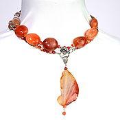 Украшения handmade. Livemaster - original item Long with pendant made of natural carnelian and agate. Handmade.