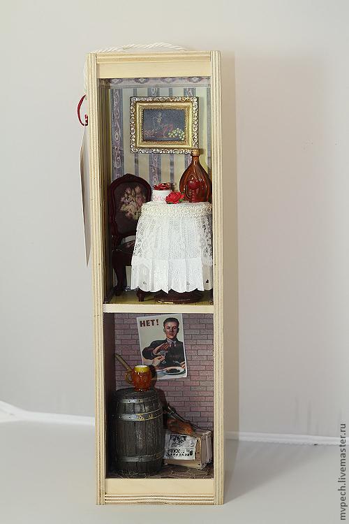 """Кукольный дом ручной работы. Ярмарка Мастеров - ручная работа. Купить """"Вечера бывают разными"""". Handmade. Вино, рыба, роза"""