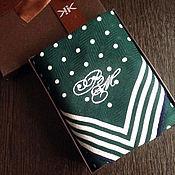 Аксессуары handmade. Livemaster - original item Handkerchief Suite. monogram initials monogram Emerald. Handmade.