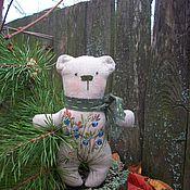 Куклы и игрушки handmade. Livemaster - original item Linen Bear Blueberry Hand Painted Embroidery.. Handmade.