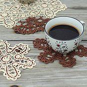 Для дома и интерьера ручной работы. Ярмарка Мастеров - ручная работа Трио Кофе с молоком. Брюггское кружево. Handmade.