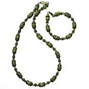 Украшения handmade. Livemaster - original item Vintage beads and bracelet made of natural jade. Handmade.