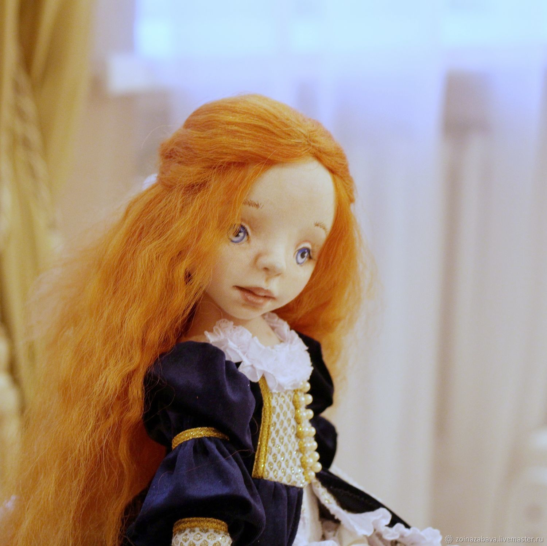 Коллекционная интерьерная текстильная кукла Злата, Шарнирная кукла, Мядель,  Фото №1