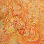Картины и панно ручной работы. Ярмарка Мастеров - ручная работа Чай с абрикосами. Авторский принт на холсте. Теплое чаепитие.. Handmade.