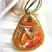 Украшения handmade. Livemaster - original item Lacquer miniature the painting on the stone cock symbol of the year. Handmade.