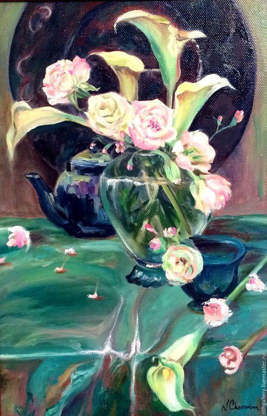 Картины цветов ручной работы. Ярмарка Мастеров - ручная работа. Купить Зеленая роза. картина маслом.. Handmade. Мятный, розовый