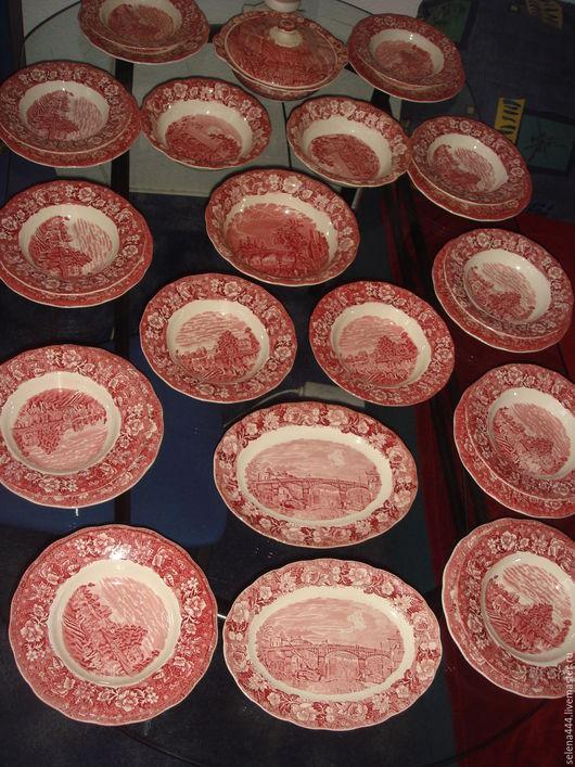 Винтажная посуда. Ярмарка Мастеров - ручная работа. Купить сервиз КРАСНАЯ поляна 10 персон англия. Handmade. Комбинированный, винтаж