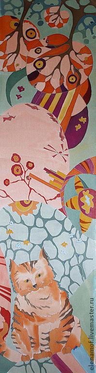 Шарфы и шарфики ручной работы. Ярмарка Мастеров - ручная работа. Купить рыжий. Handmade. Батик, шарф с котом, подарок, атлас