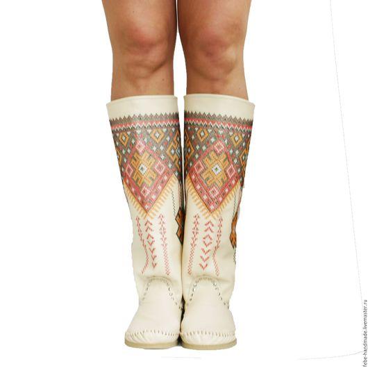Обувь ручной работы. Ярмарка Мастеров - ручная работа. Купить Летние кожанные сапоги INDIANINI RICAMATI /бежевые/. Handmade. Бежевый
