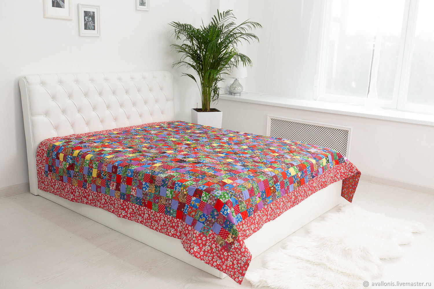 "Bedspread patchwork""Colorful""double, Souvenirs3, Moscow,  Фото №1"