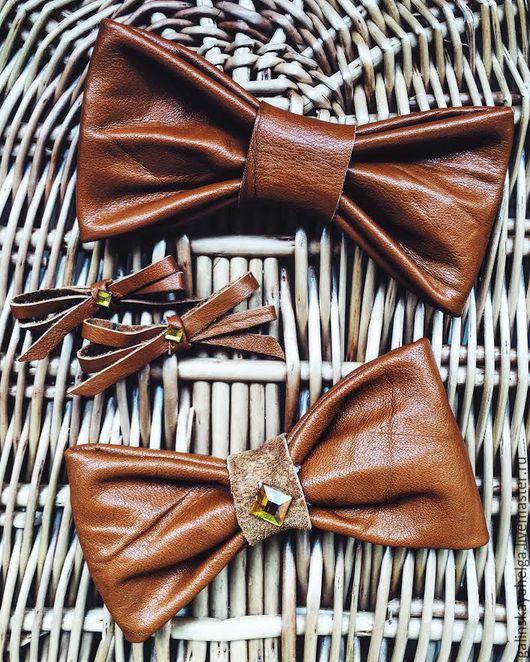 Украшения для мужчин, ручной работы. Ярмарка Мастеров - ручная работа. Купить галстук бабочка из кожи. Handmade. Коричневый, галстук-бабочка