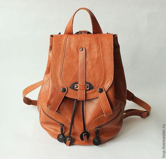 Рюкзаки ручной работы. Ярмарка Мастеров - ручная работа. Купить Рюкзак кожаный рыжий А4. Handmade. Рыжий, женский рюкзак