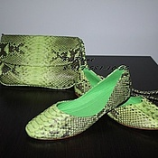 Обувь ручной работы. Ярмарка Мастеров - ручная работа Балетки из питона салатовые. Handmade.