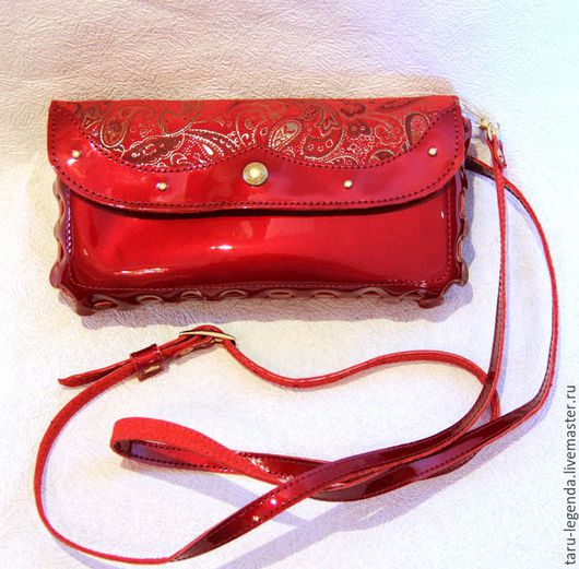Женские сумки ручной работы. Ярмарка Мастеров - ручная работа. Купить Клатч-кошелёк кожаный, красный лак. Handmade.