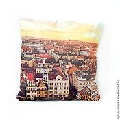 Для дома и интерьера ручной работы. Ярмарка Мастеров - ручная работа ПРАГА. КРЫШИ декоративная льняная подушка, натуральный лён. Handmade.
