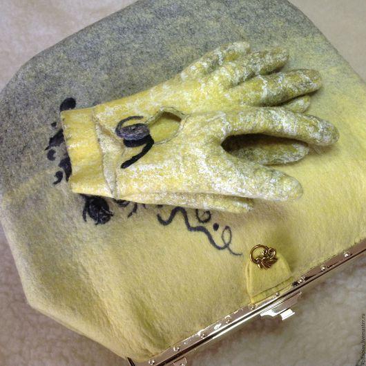 """Варежки, митенки, перчатки ручной работы. Ярмарка Мастеров - ручная работа. Купить Валяные Укороченные перчатки """"тату"""". Handmade. Желтый"""