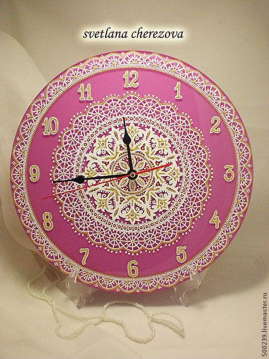 """Часы для дома ручной работы. Ярмарка Мастеров - ручная работа. Купить Часы """"Нежность"""". Handmade. Розовый, точечная роспись"""
