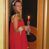 """Одежда ручной работы. Ярмарка Мастеров - ручная работа Ночная сорочка из батиста """"Красная..."""". Handmade."""