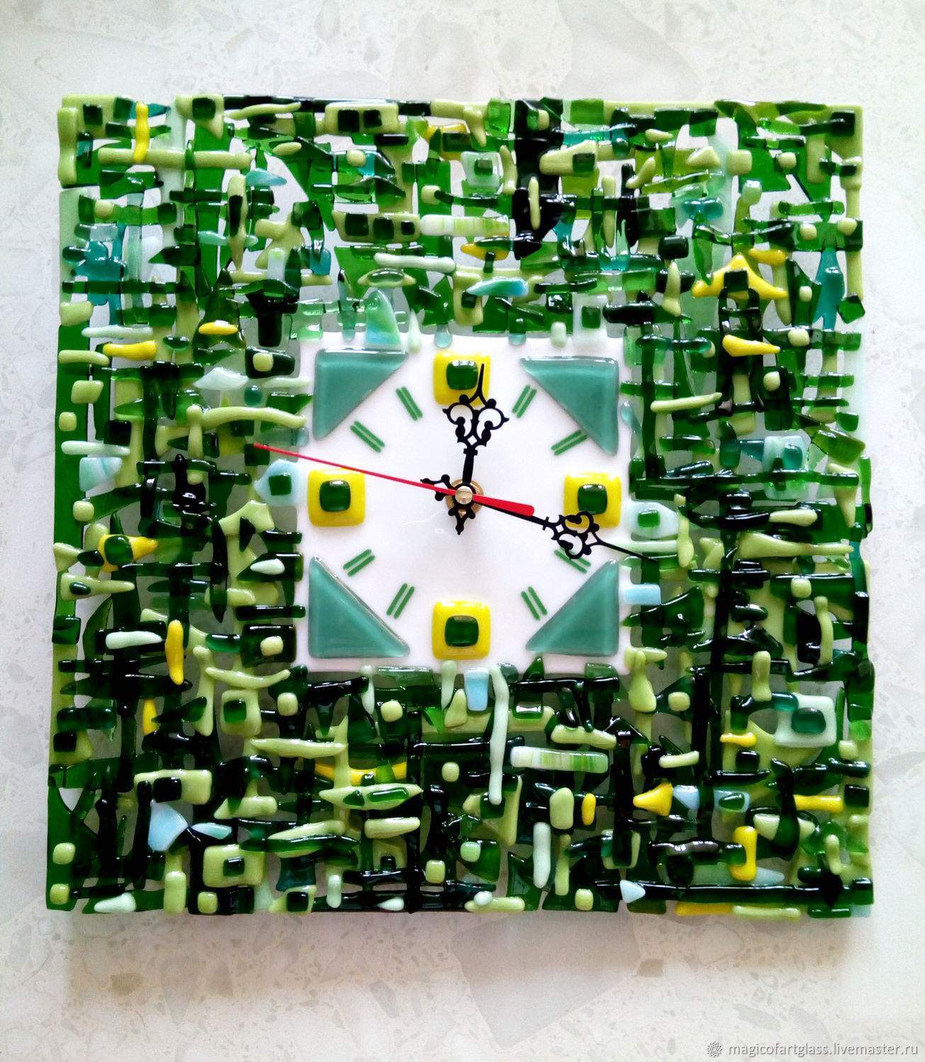 Glass wall clock in fusing technique Emerald, size 28h28sm, Watch, Khabarovsk,  Фото №1