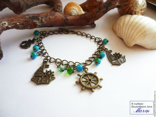 Браслеты ручной работы. Ярмарка Мастеров - ручная работа. Купить Морские сказки браслет с подвесками морская звезда ракушки зеленый. Handmade.