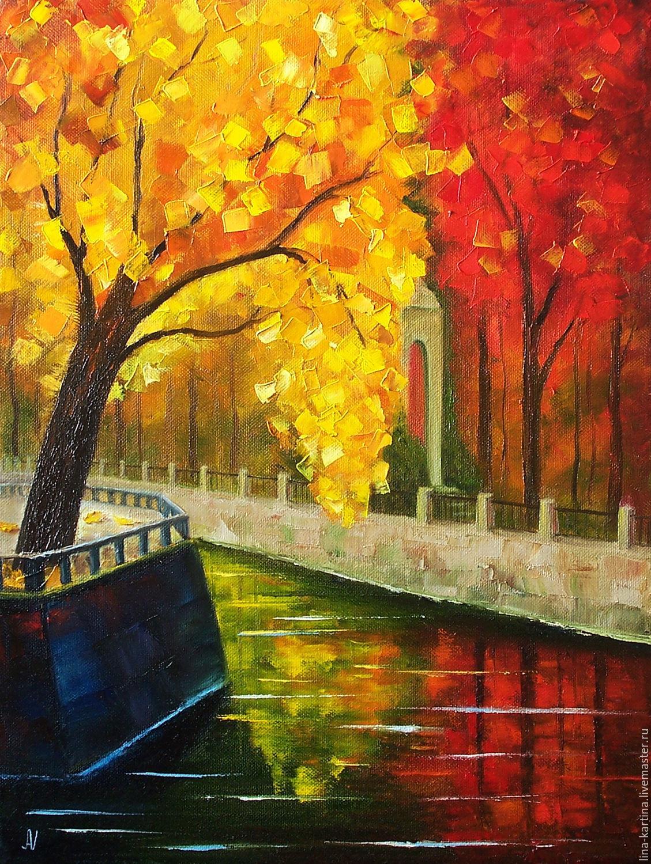 Краски осени. Картина маслом. Золотые листья, осенний ...