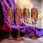 Посуда ручной работы. Ярмарка Мастеров - ручная работа Бокалы шампанские - Мардигра в фиолете. Handmade.