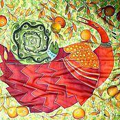 Аксессуары ручной работы. Ярмарка Мастеров - ручная работа Платок Колыбельная осеннего сада. Handmade.