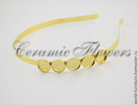 Для украшений ручной работы. Ярмарка Мастеров - ручная работа. Купить Ободок тонкий с основами для крепления, цвет золото. Handmade.