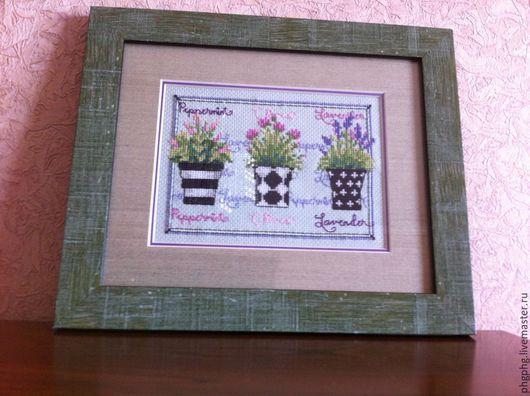 Картины цветов ручной работы. Ярмарка Мастеров - ручная работа. Купить Травяное трио. Handmade. Мятный, Вышивка крестом