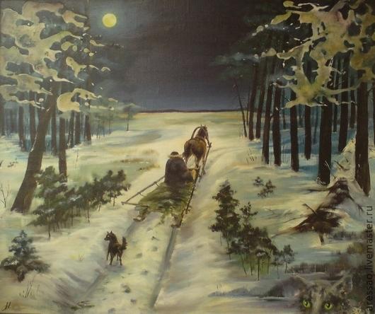 """Пейзаж ручной работы. Ярмарка Мастеров - ручная работа. Купить Картина """"Ночная поездка"""". Handmade. Тёмно-синий, подарок"""