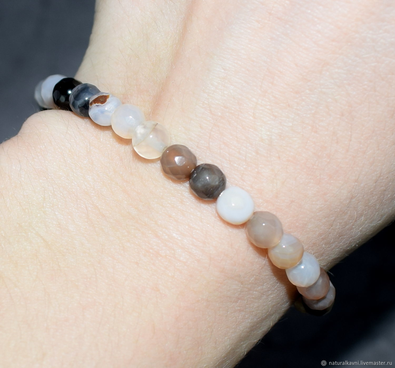 Bracelet with natural smoky agate cut, Bead bracelet, Moscow,  Фото №1
