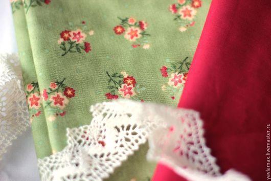 Шитье ручной работы. Ярмарка Мастеров - ручная работа. Купить Набор тканей для рукоделия Красные цветы. Handmade. Ткань для рукоделия