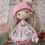 Куклы и игрушки handmade. Livemaster - original item Little doll Tanya. Interior doll with grey eyes in gray and pink dress. Handmade.