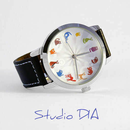 Часы. Наручные Часы. Оригинальные Дизайнерские Часы Кошки Разноцветные. Студия Дизайнерских Часов DIA.
