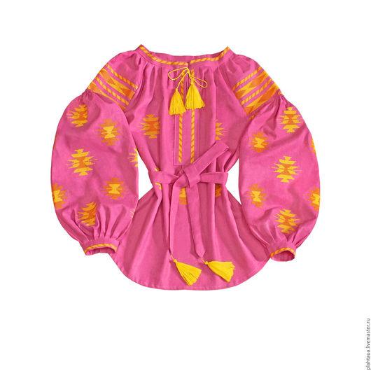 Блузки ручной работы. Ярмарка Мастеров - ручная работа. Купить Женская вышиванка «Цветочный мёд». Handmade. Розовый, летняя блуза