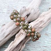 handmade. Livemaster - original item Unakite and Swarovski crystals. bracelet. Handmade.