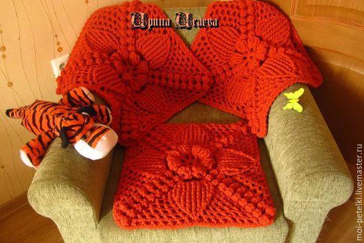 коврик, коврик на кресло, коврик вязаный, сиденье на кресло