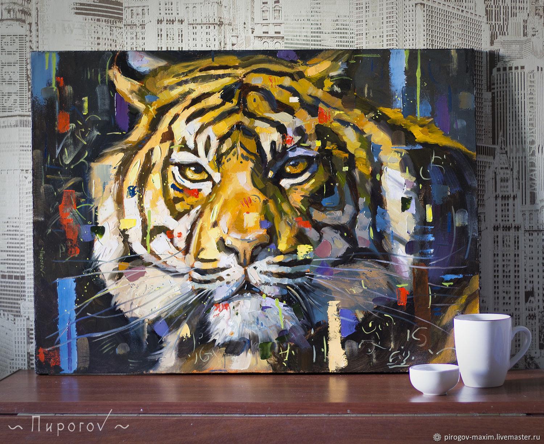 Картина маслом тигр. Картина. Заказать картину маслом. Картины, Картины, Самара,  Фото №1