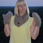 Комплекты головных уборов ручной работы. Ярмарка Мастеров - ручная работа Комплект пуховых Осенний Этюд вязаный. Handmade.