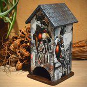 """Для дома и интерьера ручной работы. Ярмарка Мастеров - ручная работа Чайный домик """"Свидание на крыше"""", для чайных пакетиков. Handmade."""