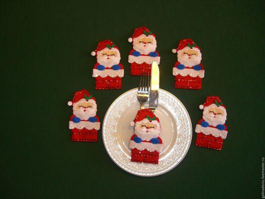 """Комплекты аксессуаров ручной работы. Ярмарка Мастеров - ручная работа. Купить Кармашки для столовых приборов """"Снеговики"""", 6 штук. Handmade."""